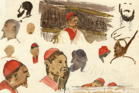 Nora H. Silver, Portrait Head Studies, Tangier, Morocco - 1892/3 watercolour
