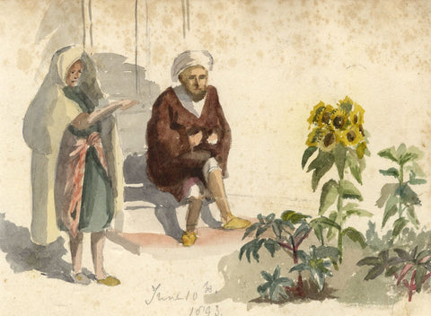 Nora H. Silver, Figures on Steps, Tangier, Morocco - 1893 watercolour painting
