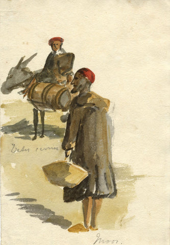 Nora H. Silver, Water Carrier Mule & Figures Tangier Morocco -1892/3 watercolour