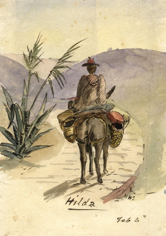 Nora H. Silver, Hilda on a Donkey, Tangier, Morocco -1892/3 watercolour painting