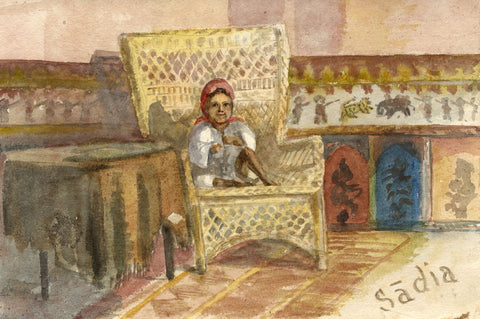 Nora H. Silver, Girl 'Sadia' in Moroccan Interior, Tangier - 1892/3 watercolour