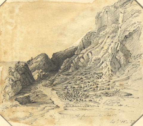 Jane D. Harvey, Favourite Seat on the Rocks, Isle of Man - 1837 graphite drawing