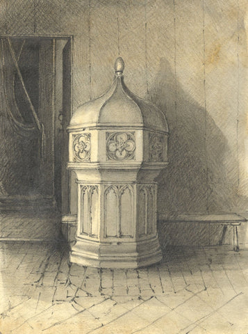 Jane D. Harvey, Font Study, Doddinghurst Church, Essex - 1838 graphite drawing