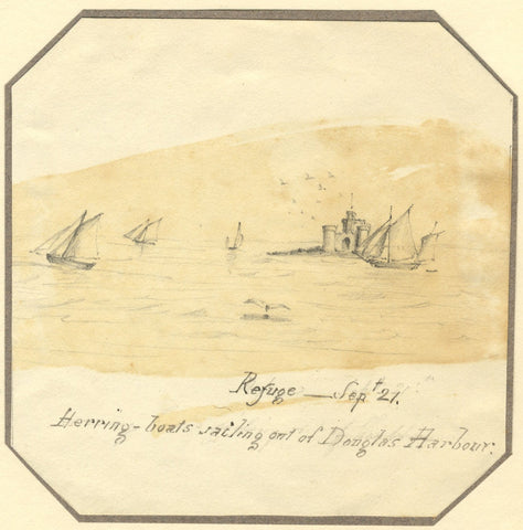 Jane D. Harvey, Tower of Refuge & Herring Boats, Isle of Man - c.1837 drawing