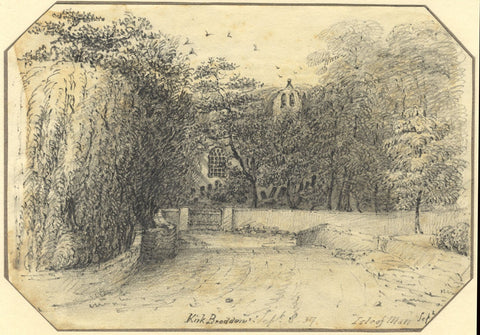 Jane D. Harvey, Approach to Old Kirk Braddan, Isle of Man -1837 graphite drawing