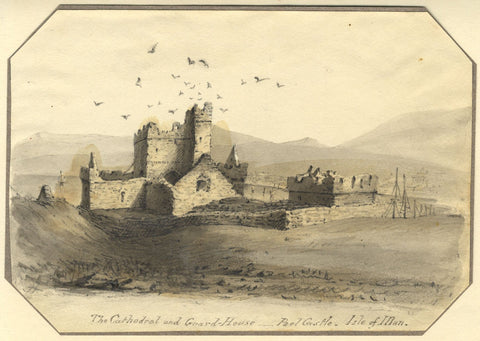 Jane D. Harvey, Cathedral & Guard House Peel Castle, Isle of Man -c.1837 drawing