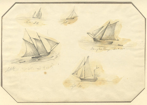 Jane D. Harvey, Study of Herring Boats, Douglas Bay, Isle of Man -c.1837 drawing