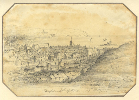 Jane D. Harvey, View over Douglas, Isle of Man - Original 1837 graphite drawing