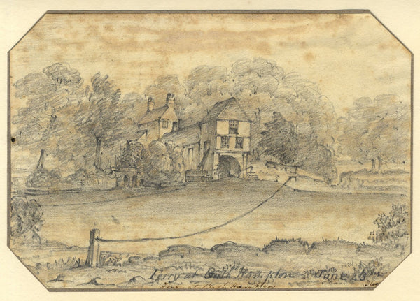 Jane D. Harvey, Mill & Rope Ferry, Bathampton near Bath -c.1845 graphite drawing