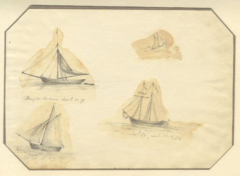 Jane D. Harvey, Herring Fishing Boats, Douglas Harbour Isle of Man -1837 drawing