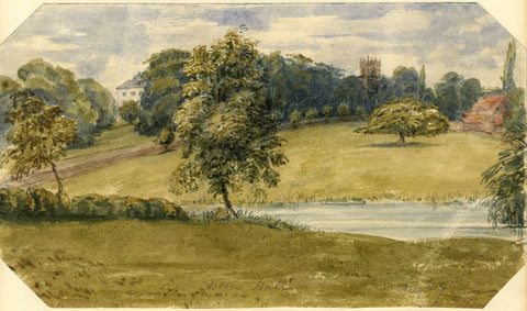 Jane D. Harvey, Aston Hall & Lake, Oswestry, Shropshire - 1849 watercolour