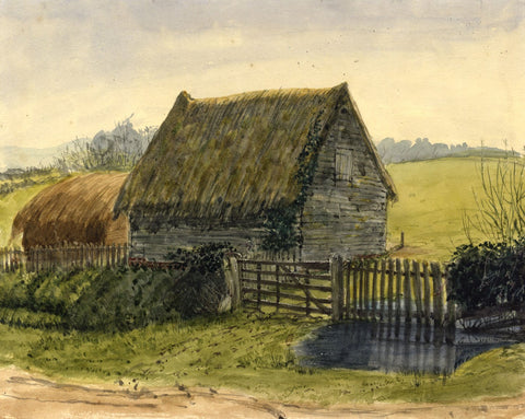 Jane D. Harvey, Thatched Barns, Essex - c.1845 watercolour painting