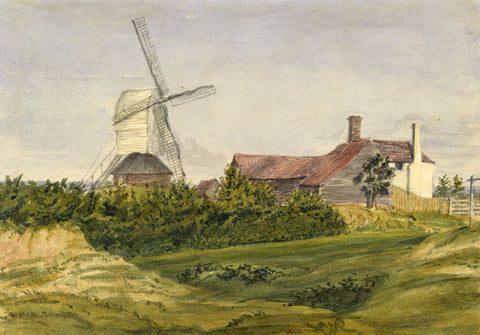 Jane D. Harvey, Windmill near Doddinghurst, Essex - c.1845 watercolour painting