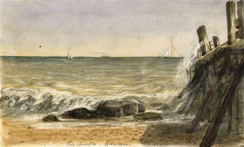 Jane D. Harvey, Tide Coming in, Folkstone - Original 1851 watercolour painting