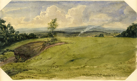 Jane D. Harvey, Rural Landscape with Locomotive Steam - c.1845 watercolour