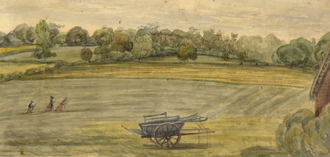 Jane D. Harvey, Farmland View with Figures - c.1845 watercolour painting