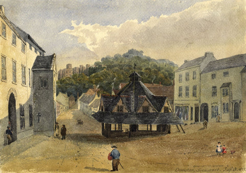 Jane D. Harvey, Yarn Market, Dunster, Somerset - 1852 watercolour painting