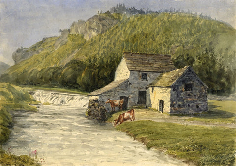 Jane D. Harvey, Cottage & Cows by River Wye, Buxton -c.1849 watercolour painting