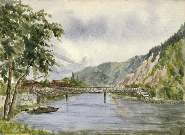 Rosa E. Neumann, Bridge over River Aare, lnterlaken - 1881 watercolour painting