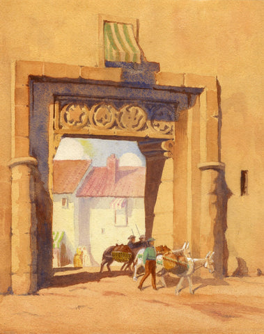 Stone Archway with Pack Mules - Original late 19th-century watercolour painting