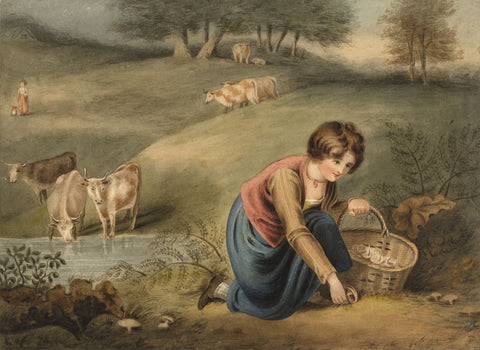Pupil of Richard Westall RA, A Girl Gathering Mushrooms -Early C19th watercolour