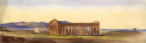 Attrib. Thomas Hartley Cromek, Paestum Temples, Italy - 19th-century watercolour