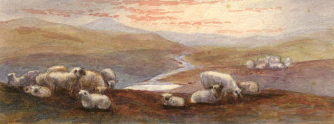 M. Capel Cure, Moorland View with Sheep - Late 19th-century watercolour painting