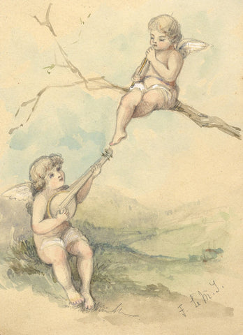 Florence Le Marchant Tupper, Two Putti with Instruments - 1892 watercolour