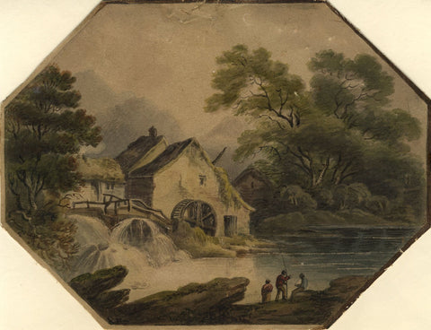 Frederica Capel Cure, Watermill with Anglers - Mid-19th-century watercolour