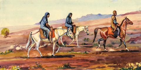 M.A. Elwell, Bakhtiari Tribesman & Wives on Horseback, Iran - c.1947 watercolour