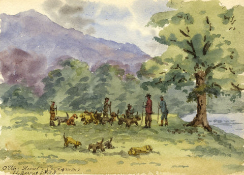 Rosa E. Neumann, Otter Hunt, Grasmere - 1888 watercolour painting