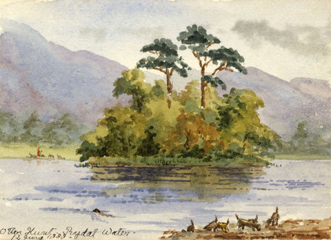 Rosa E. Neumann, Otter Hunt, Rydal Water, Lake District - 1888 watercolour