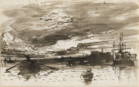 William Roxby Beverley, Marine Harbour Skies - 19th-century ink & wash drawing