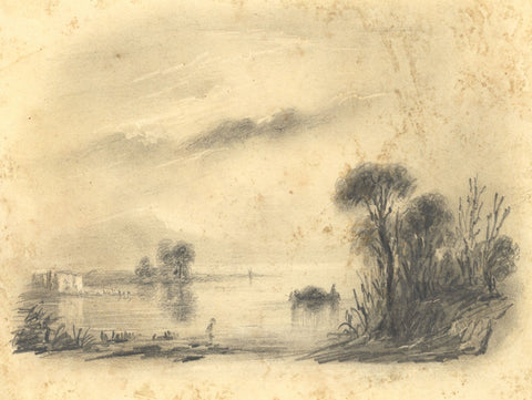 Alfred Swaine Taylor, Lake View, Switzerland - c.1829 graphite drawing