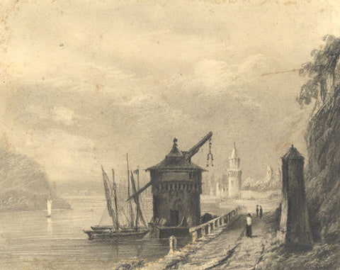 Alfred Swaine Taylor, Andernach on the Rhine, Germany - 1829 graphite drawing