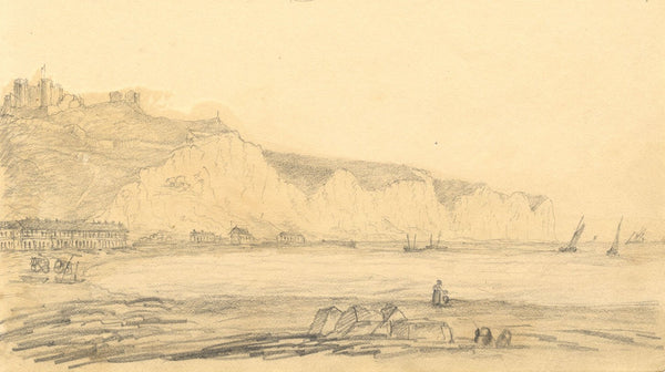 Alfred Swaine Taylor, Dover Castle & Cliffs, Kent - c.1829 graphite drawing
