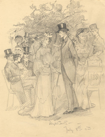 Dorothy B.M. Kerr, Edwardian Society, Hyde Park, London - 1903 graphite drawing