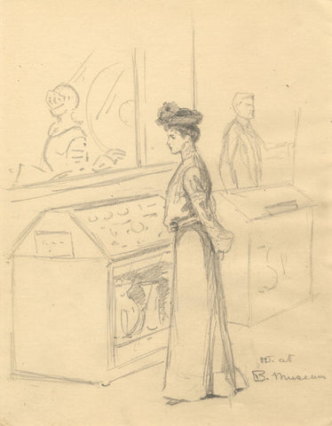 Dorothy B.M. Kerr, Edwardian Woman at British Museum - c.1903 graphite drawing