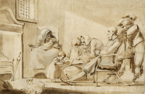 William Lock the Younger, Interior Scene with Figures - 1784 ink & wash drawing