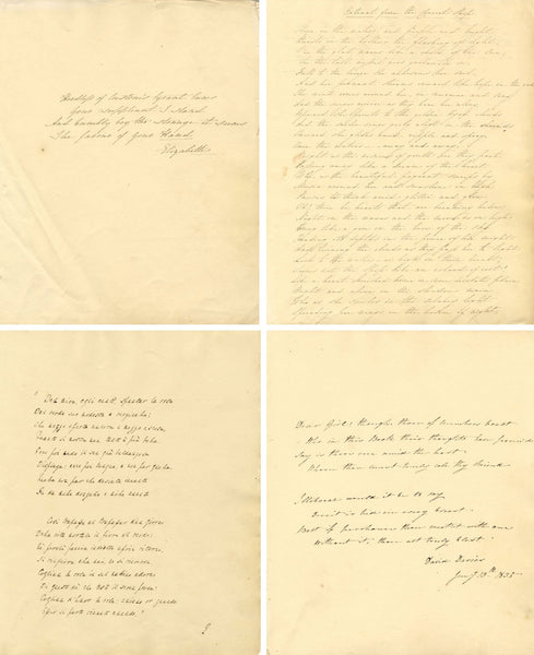 14 Manuscript Sheets 1830s Transcribed Poetry: Byron, T.K. Hervey & David Davies
