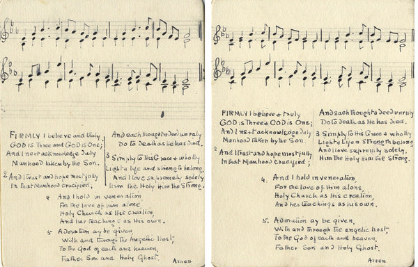 Rosa Pike, Hymn Cards with Musical Notation - Two 1921 pen & ink drawings