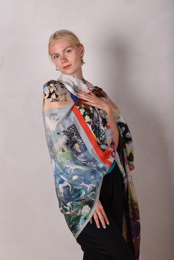 "Artist scarf. Very large shawl/wrap in 100% silk crepe de chine. ""The Collection"""