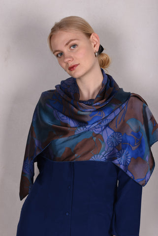 "Kæmpestort sjal/wrap i 100% silke Crepe de Chine. ""The Collection"""