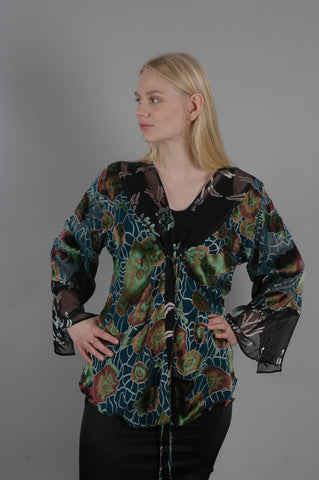 Shirley. Mix print top in silk satin devoré
