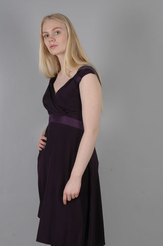 """Magda"" Stretch silk crepe-satin dress w. adjustable straps. Col: Night Purple"