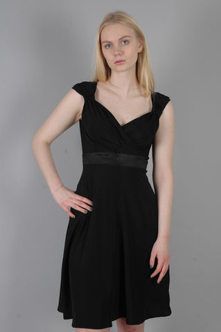 """Magda"" Stretch silk crepe-satin dress w. adjustable straps. Col: Black"