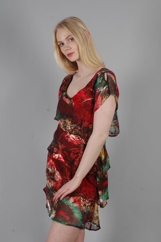 """Annie"" Silk dress w. layers of silk devoré on top of tight stretch satin. Colour ""Indus"""