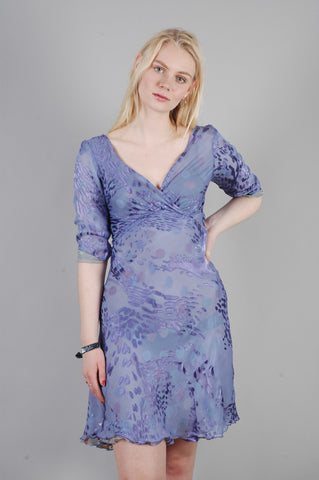 "Marge - reversible silk satin devoré dress in print ""Grouperdot/Lavendish"""