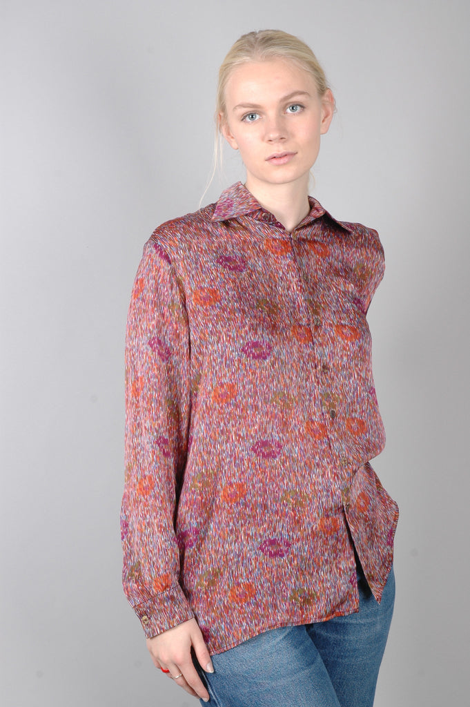 """Shans"" Classic ""men´s"" shirt in 100% silk satin georgette. Print ""Magpie"""