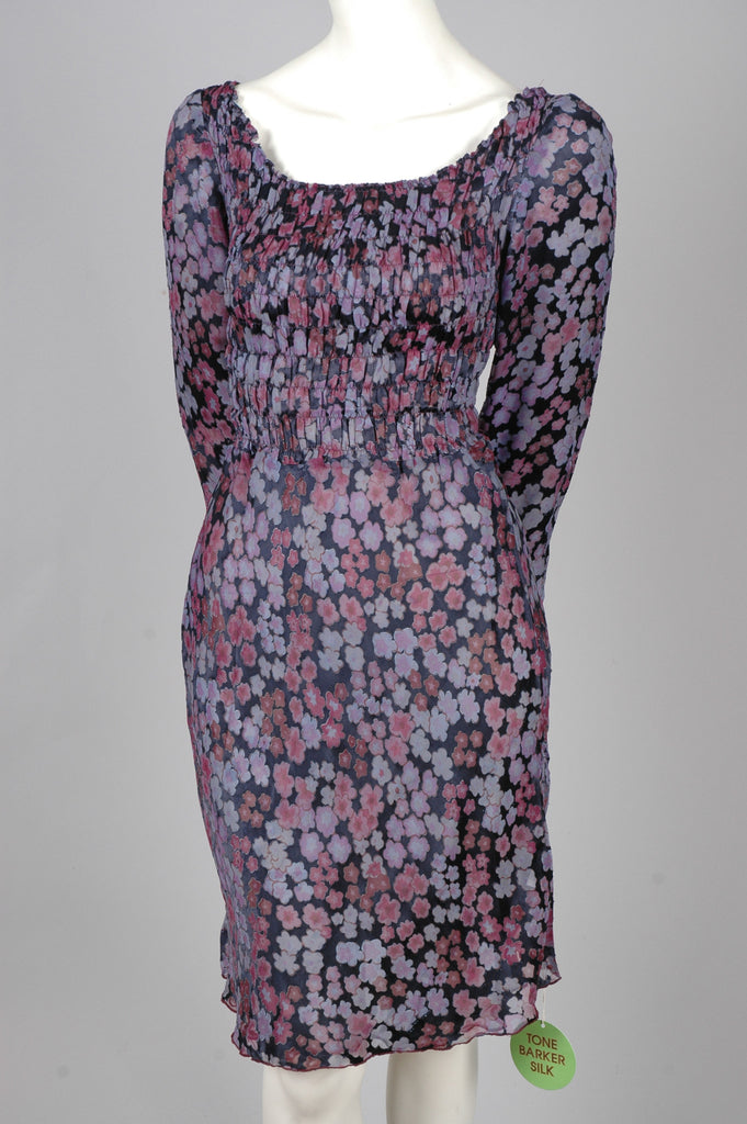 "Augusta, reversible dress in silk satin devoré w. smock print ""Blink/Grossum"""